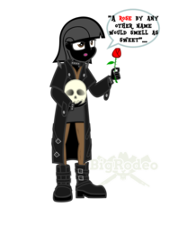 Size: 774x1032 | Tagged: anthro, artist:bigrodeo, equestria girls, flower, goth, human, humanized, oc, pegasus, pony, rose, safe, shakespeare, skull, solo