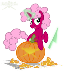 Size: 840x952 | Tagged: safe, artist:bigrodeo, oc, oc:polygon, pony, unicorn, afro, conjuring, curly hair, fluffy, halloween, holiday, jack-o-lantern, knife, magic, pumpkin, solo
