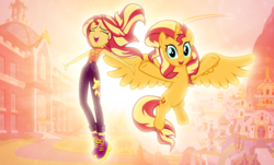 Size: 4057x2452 | Tagged: safe, artist:andoanimalia, artist:boneswolbach, artist:cloudyglow, artist:mlp-vector-collabs, edit, sunset shimmer, alicorn, pony, equestria girls, equestria girls series, let it rain, spoiler:eqg series (season 2), alicornified, canterlot high, clothes, cutie mark, fiery shimmer, glow, human ponidox, pants, race swap, self ponidox, shimmercorn, shoes, sunset shimmer day, sunshine shimmer, wallpaper, wallpaper edit