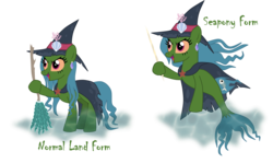 Size: 2508x1497 | Tagged: artist:shadymeadow, broom, cloak, clothes, earth pony, female, hat, jaundice, mare, oc, oc:marine curse, pony, safe, seapony (g4), simple background, solo, transparent background, witch hat