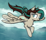 Size: 871x750 | Tagged: safe, artist:thehuskylord, oc, oc only, oc:seafare breeze, pegasus, pony, cloud, colored, cutie mark, digital art, flying, highlights, island, no pupils, ocean, shading, smiling, solo
