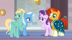 Size: 1600x900 | Tagged: a horse shoe-in, artist:themexicanpunisher, double date, edit, edited screencap, female, male, safe, screencap, shipping, spoiler:s09e20, starburst, starlight glimmer, straight, sunburst, trixbreeze, trixie, zephyr breeze