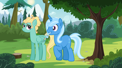 Size: 6116x3444 | Tagged: safe, artist:themexicanpunisher, trixie, zephyr breeze, pony, aura winds, female, forest, male, mountain, rule 63, scenery, shipping, straight, tree, tristan, trixbreeze