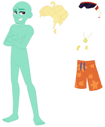 Size: 521x629 | Tagged: artist:selenaede, base, blue crushed, clothes, crossed arms, equestria girls, equestria girls series, feet, legs, male, male feet, safe, shorts, simple background, smiling, sunglasses, swimming trunks, white background, zephyr breeze, zephyr's necklace