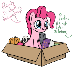 Size: 3609x3356   Tagged: safe, artist:czu, pinkie pie, earth pony, pony, box, commission, cute, decoration, dialogue, diapinkes, female, grave, gravestone, halloween, holiday, mare, nightmare night, offscreen character, pumpkin, simple background, sitting, skull, smiling, solo, white background