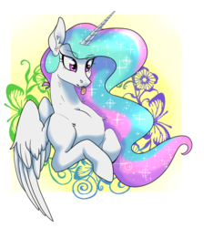 Size: 956x1022 | Tagged: abstract background, alicorn, artist:dragonfruitdarigan, bust, butterfly, chest fluff, cute, cutelestia, ear fluff, eyebrows visible through hair, female, flower, majestic as fuck, mare, :p, playful, pony, princess celestia, safe, solo, tongue out