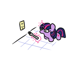 Size: 710x542 | Tagged: artist:jargon scott, female, fork, magic, mare, pony, safe, simple background, socket, solo, telekinesis, this will end in pain, twiggie, twilight sparkle, unicorn, unicorn twilight, white background