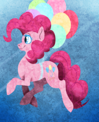 Size: 675x829 | Tagged: abstract background, artist:dragonfruitdarigan, balloon, earth pony, female, floating, mare, part of a set, pinkie pie, pony, raised hoof, safe, smiling, solo, then watch her balloons lift her up to the sky