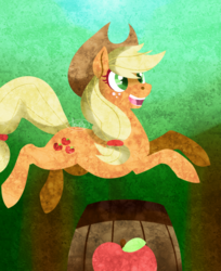 Size: 675x829 | Tagged: safe, artist:dragonfruitdarigan, applejack, earth pony, pony, apple, barrel, cutie mark, female, food, happy, jumping, mare, open mouth, part of a set, smiling, solo
