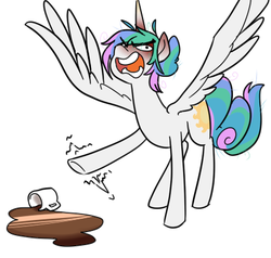 Size: 420x400 | Tagged: alternate hairstyle, angry, artist:dragonfruitdarigan, coffee, coffee mug, cropped, cutie mark, edit, eyebrows visible through hair, hair bun, missing accessory, mug, open mouth, princess celestia, rage, raised hoof, safe, simple background, solo, spilled drink, spread wings, white background, wings