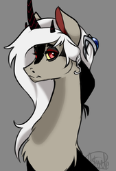 Size: 600x890   Tagged: safe, artist:dragonfruitdarigan, oc, oc only, oc:eris, draconequus, bust, draconequus oc, female, gray background, interspecies offspring, lidded eyes, looking at you, magical gay spawn, offspring, parent:discord, parent:lord tirek, parents:tirekcord, simple background, solo