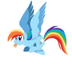 Size: 380x380 | Tagged: artist:dragonfruitdarigan, cropped, cutie mark, edit, female, flying, lineless, majestic as fuck, mare, pegasus, pony, rainbow dash, safe, silly, simple background, solo, spread wings, tongue out, transparent background, wings