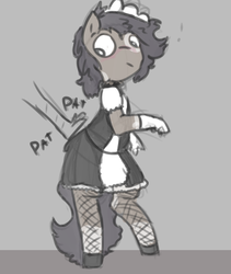 Size: 435x515 | Tagged: anthro, artist:davierocket, blushing, clothes, crossdressing, disembodied hand, fishnets, gloves, hand, maid, oc, oc:longfolia, safe