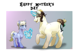 Size: 1280x906 | Tagged: safe, artist:dragonfruitdarigan, oc, oc only, earth pony, pony, unicorn, abstract background, curved horn, cute, cutie mark, duo, female, gift art, grandmother, grandmother and grandchild, heartwarming, horn, magic, mare, mother's day, old, open mouth, ponysona, size difference, telekinesis