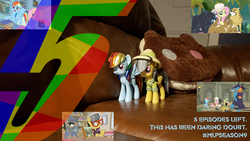 Size: 1152x648 | Tagged: ahuizotl, ahuizotl's cats, cookie cat, couch, daring do, daring doubt, doctor caballeron, earth pony, edit, fluttershy, funko, illustrator, mlp s9 countdown, pegasus, photo, photoshop, pony, rainbow dash, safe, spoiler:s09e21, steven universe, toy