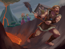 Size: 2048x1536 | Tagged: safe, artist:picklechippy, rockhoof, human, campfire tales, background human, bard, barefoot, braid, channel, digging, dirt, fantasy class, feet, humanized, lava, male, man, rockhoof's shovel, rockhoof's village, shovel, volcano