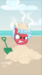 Size: 720x1280 | Tagged: safe, screencap, cozy glow, pony, spoiler:s09, angry, beach, red face, sand, the most evil q&a ever