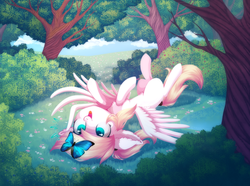 Size: 1450x1080 | Tagged: artist:starrcoma, aryan pony, bush, butterfly, chest fluff, cute, dock, ear fluff, female, filly, forest, hairpin, looking up, lying down, oc, oc:luftkrieg, on back, pegasus, safe, tree, wings