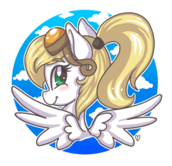 Size: 1761x1699   Tagged: safe, oc, oc:luftkrieg, pegasus, pony, aryan, aryan pony, blonde, bust, circle, cloud, cute, face, female, filly, goggles, happy, looking back, luftkriebetes, nazipone, ponytail, portrait, rear view, sky, smiling