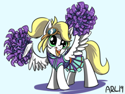 Size: 800x600   Tagged: safe, artist:lytlethelemur, oc, oc:luftkrieg, pegasus, pony, aryan, aryan pony, blonde, cheerleader, clothes, cute, feather fingers, female, filly, goggles, hand, holding, miniskirt, nazipone, neigh, ocbetes, open mouth, pleated skirt, pom pom, ponytail, skirt, tongue out, wings