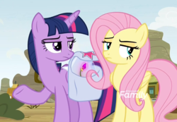 Size: 1114x770 | Tagged: safe, screencap, fluttershy, twilight sparkle, alicorn, pony, growing up is hard to do, duo, flower, fluttershy is not amused, saddle bag, twilight is not amused, twilight sparkle (alicorn), unamused, wishing flower