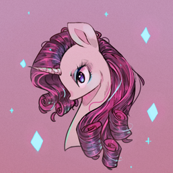 Size: 500x500 | Tagged: artist:rumbletree6, bust, diamond, female, mare, pony, portrait, profile, purple background, rarity, safe, simple background, solo, unicorn
