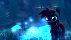 Size: 1360x768 | Tagged: 3d, artist:bwablack, clothes, gmod, hybrid, magic glow, night, oc, oc only, oc:pony black, photoshop, safe, scarf, solo, tree, unicorn, zony