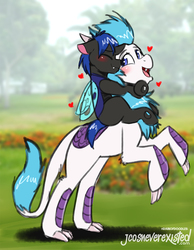 Size: 793x1024   Tagged: safe, artist:jcosneverexisted, oc, oc only, oc:ketten moon, oc:swift dawn, changeling, kirin, pony, blue changeling, blue eyes, blushing, colt, doodle, eyes closed, hug, looking back, male, patreon, ponies riding ponies, rearing, riding, standing, swift dawn riding ketten moon