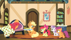 Size: 1600x900 | Tagged: apple bloom, applejack, big macintosh, blanket, book, bookshelf, bowl, butterfly, carpet, couch, cutie mark crusaders, door, food, growing up is hard to do, picture frame, pillow, plate, pouting, rainbow, rug, safe, scootaloo, screencap, shelf, sick, soup, spoiler:s09e22, spoon, sweetie belle