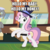 Size: 600x600   Tagged: safe, edit, edited screencap, screencap, caesar, count caesar, sweetie belle, pony, unicorn, growing up is hard to do, spoiler:s09e22, being big is all it takes, bipedal, cane, caption, cropped, cutie mark, dancing, female, hat, hello my baby, hoof hold, image macro, looney tunes, male, mare, meme, michigan j. frog, older, older sweetie belle, smiling, solo focus, stallion, text, the cmc's cutie marks, top hat, warner brothers