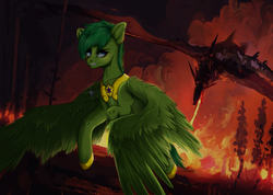 Size: 3200x2280 | Tagged: advertisement, angry, armor, arms behind head, artist:nikameowbb, bat pony, beautiful, commission, commission info, defending, destruction, devil, digital art, dragon, fantasy class, female, fire, firefly, flying, full body, full nelson, oc, pegasus, pegasus oc, phoenix, pony, safe, solo, war, warrior, wings