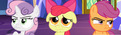 Size: 3060x904 | Tagged: safe, edit, edited screencap, screencap, apple bloom, scootaloo, sweetie belle, pony, growing up is hard to do, adorabloom, cute, cutie mark crusaders, panorama, pouting, pouty, pouty lips, sad, sad eyes, twilight's castle, unamused, upset
