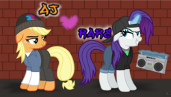 Size: 2848x1614 | Tagged: alternate hairstyle, applejack, artist:anime-equestria, backwards ballcap, baseball cap, beanie, belt, boombox, brick wall, cap, clothes, cute, duo, eyeshadow, female, glowing horn, graffiti, hat, hip hop, hoodie, horn, jeans, lesbian, long sleeves, magic, makeup, mare, pants, pony, rarijack, rarity, safe, shipping, shirt, smiling, smirk, unicorn, vector