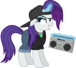 Size: 1527x1369 | Tagged: alternate hairstyle, artist:anime-equestria, backwards ballcap, baseball cap, boombox, cap, clothes, derpibooru exclusive, eyeshadow, female, glowing horn, hat, hip hop, hoodie, horn, jeans, magic, makeup, mare, pants, pony, rarity, safe, shirt, simple background, smiling, smirk, solo, transparent background, unicorn, vector