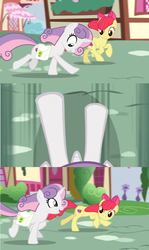 Size: 1600x2688 | Tagged: safe, edit, edited screencap, screencap, apple bloom, sweetie belle, growing up is hard to do, comic, cutie mark, galloping, hooves, looking down, older, older apple bloom, older cmc, older sweetie belle, saddle bag, screencap comic, smiling, speeding, the cmc's cutie marks