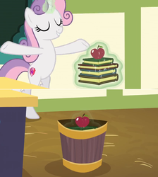 Size: 1600x1788 | Tagged: apple, being big is all it takes, book, chalkboard, comic, dropping, edit, edited screencap, food, growing up is hard to do, levitation, magic, older, older sweetie belle, open arms, safe, screencap, screencap comic, solo, spoiler:s09e22, stack, sweetie belle, telekinesis, trash, trash can