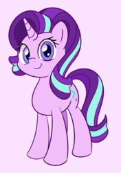 Size: 2000x2847 | Tagged: safe, artist:esfelt, starlight glimmer, pony, unicorn, cute, female, glimmerbetes, looking at you, mare, pink background, simple background, smiling, solo, standing