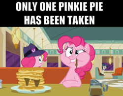 Size: 1280x1000 | Tagged: safe, edit, edited screencap, screencap, lucky breaks, pinkie pie, earth pony, pony, the last problem, the saddle row review, clone, food, pancakes, pinkie clone, text