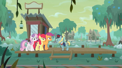Size: 1600x900 | Tagged: apple bloom, booth, creepy, cutie mark, cutie mark crusaders, grin, growing up is hard to do, lantern, loose tracks, older, older apple bloom, older cmc, older scootaloo, older sweetie belle, platform, safe, scootaloo, screencap, smiling, spoiler:s09e22, swamp, sweetie belle, the cmc's cutie marks, train tracks, tree