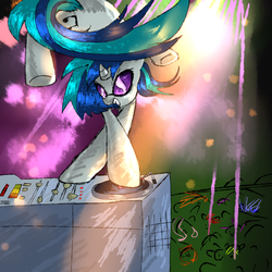 Size: 2000x2000 | Tagged: acrobatics, artist:rumbletree6, art trade, awesome, cutie mark, dj pon-3, female, grin, mare, mixing console, narrowed eyes, pony, safe, smiling, solo, unicorn, vinyl scratch