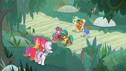 Size: 1600x900   Tagged: safe, screencap, apple bloom, biscuit, savage honeydew, scootaloo, spring green, spur, sweetie belle, growing up is hard to do, angry, box, bush, cajun ponies, chest, cutie mark, cutie mark crusaders, defending, frazzled, older, older apple bloom, older cmc, older scootaloo, older sweetie belle, road, scared, the cmc's cutie marks, tree, unamused