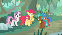 Size: 1600x900   Tagged: safe, screencap, apple bloom, biscuit, scootaloo, spur, sweetie belle, growing up is hard to do, bush, cutie mark, cutie mark crusaders, dirt, forest, frazzled, mud, nervous grin, older, older apple bloom, older cmc, older scootaloo, older sweetie belle, road, the cmc's cutie marks