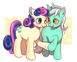 Size: 1000x800   Tagged: safe, artist:xlerotl, bon bon, lyra heartstrings, sweetie drops, earth pony, pony, unicorn, abstract background, adorabon, best friends, blushing, cute, female, holding hooves, lesbian, looking at each other, lyrabetes, lyrabon, mare, one eye closed, shipping, simple background, smiling, standing, transparent background, wink