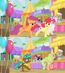 Size: 1600x1782 | Tagged: safe, edit, edited screencap, screencap, apple bloom, floral pattern, jeff letrotski, jiffy bake, scootaloo, spur, sweetie belle, pony, growing up is hard to do, balloon, candy, comic, cup, cutie mark, food, food stand, galloping, glass, lollipop, neckerchief, older, older apple bloom, older cmc, older scootaloo, older sweetie belle, pitcher, screencap comic, tent, the cmc's cutie marks, vendor, worried