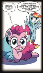 Size: 510x860 | Tagged: artist:amy mebberson, duo, earth pony, female, idw, implied death, mare, official comic, pegasus, pinkie pie, pony, rainbow dash, safe, seashell, simple background, speech bubble, spoiler:comic, spoiler:comic16, whispering, white background