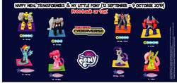 Size: 960x455 | Tagged: safe, fluttershy, pinkie pie, rainbow dash, rarity, pony, bumblebee (transformers), clash of hasbro's titans, female, happy meal, irl, mcdonald's, mcdonald's happy meal toys, megatron, my little pony logo, optimus prime, photo, singapore, starscream, toy, transformers, transformers cyberverse