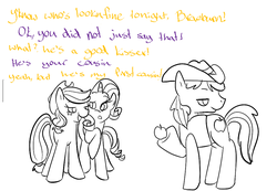 Size: 985x683 | Tagged: safe, artist:ponygoggles, applejack, braeburn, rarity, pony, applecest, black and white, braejack, female, grayscale, incest, male, mean girls, monochrome, punctuation error, shipping, straight