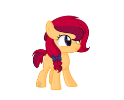 Size: 1968x1584 | Tagged: safe, artist:rainbowpawsarts, oc, oc:apple star, earth pony, pony, alternate universe, female, filly, hair over one eye, offspring, parent:apple bloom, parent:tender taps, parents:tenderbloom, ribbon, simple background, transparent background, water