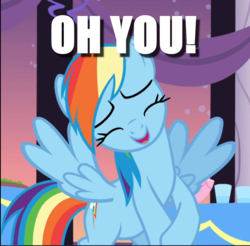 Size: 956x939 | Tagged: caption, cropped, cute, dashabetes, edit, edited screencap, female, image macro, mare, oh you, pony, rainbow dash, rarity investigates, safe, screencap, solo, text