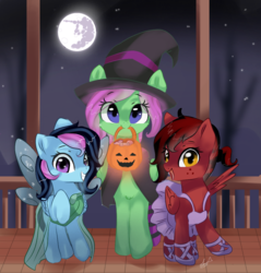 Size: 1055x1105 | Tagged: amber eyes, artist:latia122, ballerina costume, blue eyes, candy, candy bag, clothes, costume, fairy costume, food, full moon, halloween, halloween costume, hat, holiday, mare in the moon, moon, mouth hold, night, nightmare night, nightmare night costume, night sky, oc, oc:candy sparklez, oc only, oc:scarlett wings, oc:zippy sparkz, pony, porch, pumpkin bucket, purple eyes, safe, sky, socks, starry night, starry sky, stars, trick or treat, witch costume, witch hat
